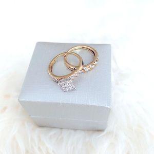New Bridal Set 1/2 CTTW Diamond over Silver